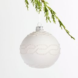 Cable-Knit Textured Nordic Ball Christmas Ornament | Crate and Barrel | Crate & Barrel