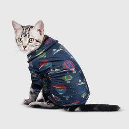 Holiday Hot Air Baloon Print Flannel Dog and Cat Matching Family Pajamas - Navy - Wondershop™ | Target