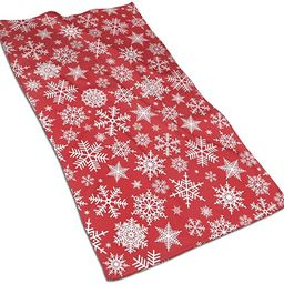 N/W Christmas White Snowflakes Hand Towels 15.7x27.5 Inch,Red Background Thin Towel,Portable Smal... | Amazon (US)