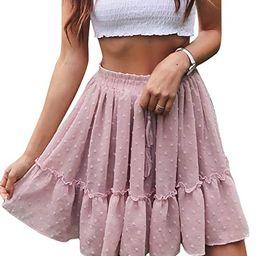 Miessial Women's High Waist A Line Mini Skirt Pleated Ruffle Cute Beach Short Skirt | Amazon (US)