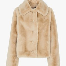 Whistles Short Faux Fur Coat, Beige | John Lewis (UK)