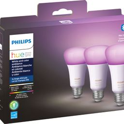 Philips Hue White & Color Ambiance A19 Bluetooth LED Smart Bulbs (3-Pack) Multicolor 562785 - Bes...   Best Buy U.S.