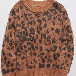 Aerie Leopard Oversized Crew Sweater | American Eagle Outfitters (US & CA)