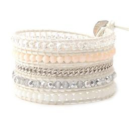 Blush Beads with Silver & White Crystals on White | Victoria Emerson