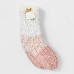 Women's Colorblock Sherpa Lined Slipper Socks with Grippers - 4-10 | Target