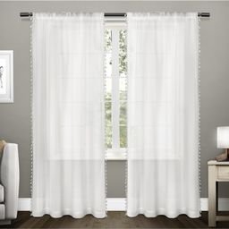 "Set of 2 84""""x54"""" Tassels Textured Bordered Tassel Applique Rod Pocket Sheer Window Curtain Panel W   Target"