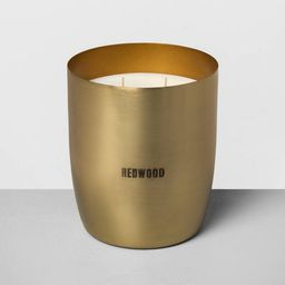 25oz Large Brass 2-Wick Candle Redwood - Hearth & Hand™ with Magnolia | Target