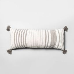 Oversized Striped Lumbar Throw Pillow Gray/Cream - Hearth & Hand™ with Magnolia | Target