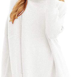 ANRABESS Women Casual Turtleneck Batwing Sleeve Slouchy Oversized Ribbed Knit Tunic Sweaters | Amazon (US)