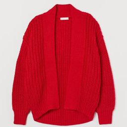 Relaxed-fit cardigan in soft, rib-knit fabric with wool content. Flat-knit lapels, heavily droppe...   H&M (US)