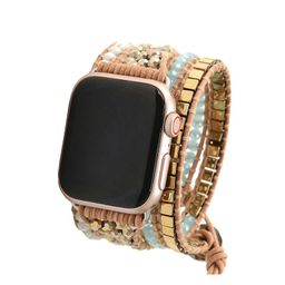 Light Blue Crystals with Gold Beads on Natural Apple Watch Strap   Victoria Emerson