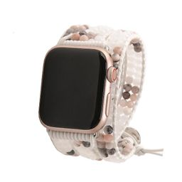 Pink Marble with Crystals on White Apple Watch Strap   Victoria Emerson