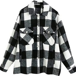 Omoone Women's Lounge Lapel Button Down Brushed Check Shirt Jacket Plaid Shirts Coats | Amazon (US)
