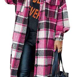 Omoone Women's Lounge Lapel Button Up Long Sleeve Plaid Long Shirt Jacket Shacket | Amazon (US)