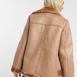 Pieces aviator jacket in tan | ASOS (Global)