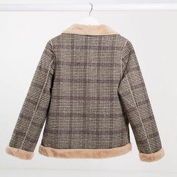 QED London fur lined plaid jacket | ASOS (Global)