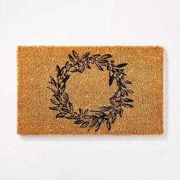 "1'6""x2'6"" Wreath Doormat Black - Threshold™ designed by Studio McGee | Target"