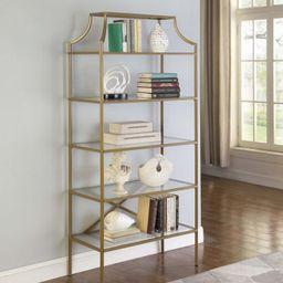5-Tier Tempered Glass Shelves Bookcase Matte Gold ( 804393 ) | Walmart (US)