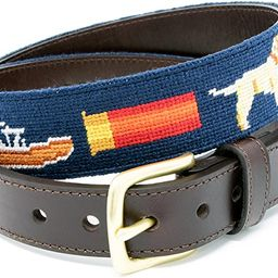 Needlepoint Belts for Men Handmade w/Cotton on Full Grain Leather Backing & Solid Brass Buckle | Amazon (US)