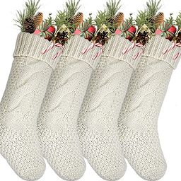 "Pack 4,18"" Unique Ivory White Knit Christmas Stockings | Amazon (US)"