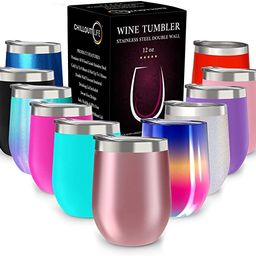 CHILLOUT LIFE 12 oz Stainless Steel Tumbler with Lid and Gift Box - Wine Tumbler Double Wall Vacu... | Amazon (US)