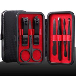 Manicure Kit Nail Clippers Set Stainless Steel Professional Pedicure Black 7 in 1 Grooming Kit Na... | Amazon (US)