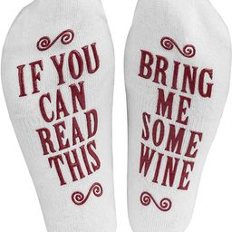 """Haute Soiree - Women's Novelty Socks - """"If You Can Read This, Bring Me Some"""" (Wine, Chocolate... 