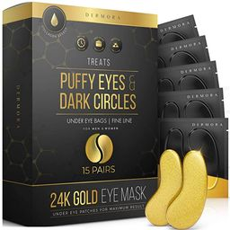 24K Gold Eye Mask– 15 Pairs - Puffy Eyes and Dark Circles Treatments – Look Less Tired and Re... | Amazon (US)