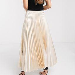 ASOS DESIGN Petite satin pleated midi skirt in bone | ASOS (Global)