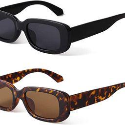 BUTABY Rectangle Sunglasses for Women Retro Driving Glasses 90's Vintage Fashion Narrow Square ... | Amazon (US)