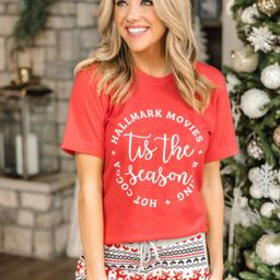 Tis The Season Winter Heather Red Graphic Tee | The Pink Lily Boutique