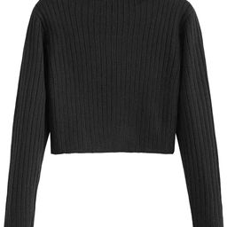 ZAFUL Women's Mock Neck Long Sleeve Ribbed Knit Pullover Crop Sweater | Amazon (US)