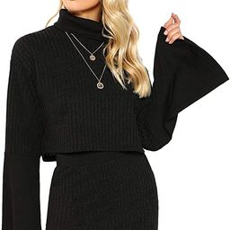 Verdusa Women's High Neck Long Sleeve Rib-Knit Sweater Crop Top & Bodycon Skirt Set | Amazon (US)