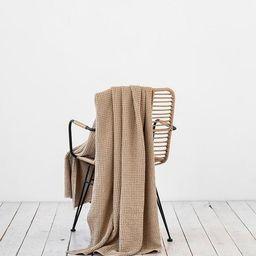 Linen throw in Beige, waffle pattern. Linen throw blanket. | Etsy (US)