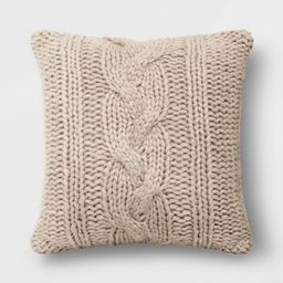 """24""""x24"""" Holiday Oversized Chunky Cable Knit Square Throw Pillow - Threshold™ 
