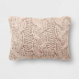 "14""x20"" Holiday Chunky Cable Knit Lumbar Throw Pillow - Threshold™ | Target"