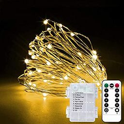 2 Pack 33Ft 10M Battery Powered Fairy Lights Indoor String Light Twinkle Lights with Remote for W...   Amazon (US)