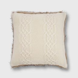 """20""""x20"""" Classic Cable Knit with Faux Fur Reverse Throw Pillow - EVERGRACE 