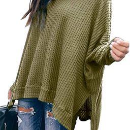Women Turtleneck Oversized Waffle Knit Batwing Sleeve Loose High Low Hem Side Slit Pullover Sweat...   Amazon (US)
