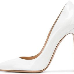 Sammitop Women's Pointed Toe Pumps 10cm Classic Stiletto Heel Suede Shoes | Amazon (US)