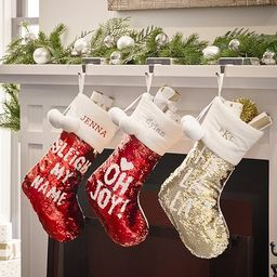 Red And Silver Reversible Sequin Stocking | Pottery Barn Kids