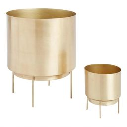 Brushed Gold Planter with Stand | World Market