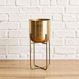 Spun Metal Standing Planter - Brass | West Elm (US)