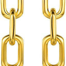 Barzel 18K Gold Plated Symmetrical Chain Link Dangling Earrings | Amazon (US)