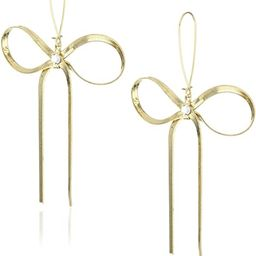 Betsey Johnson Large Gold Textured Bow Drop Earrings | Amazon (US)