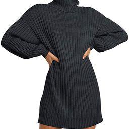 Caracilia Women Turtleneck Long Lantern Sleeve Casual Loose Oversized Sweater Dress Soft Winter P... | Amazon (US)