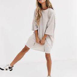 ASOS DESIGN oversized t-shirt dress in oatmeal | ASOS (Global)