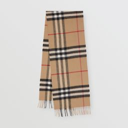 The Classic Check Cashmere Scarf in Archive Beige   Burberry United States   Burberry (US)