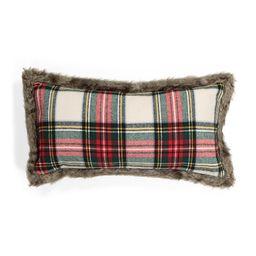 14x27 Faux Fur Trimmed Plaid Pillow | TJ Maxx