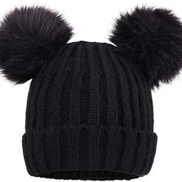 Cable Knit Beanie with Faux Fur Pompom Ears | Amazon (US)